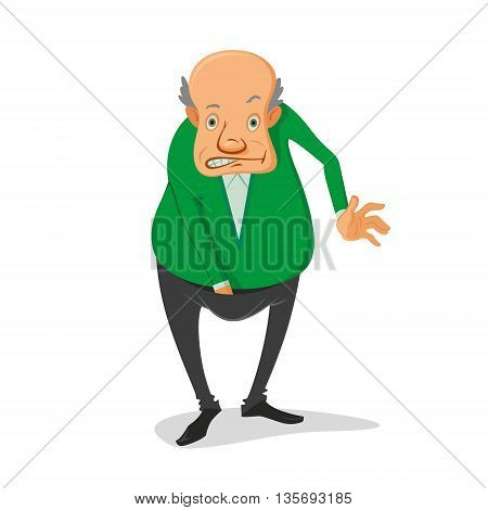 illustration of balding man with his hand in his pants