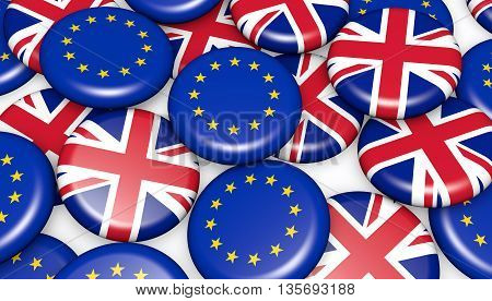 Brexit British referendum financial concept with EU and UK flag on pin badges 3D illustration background.