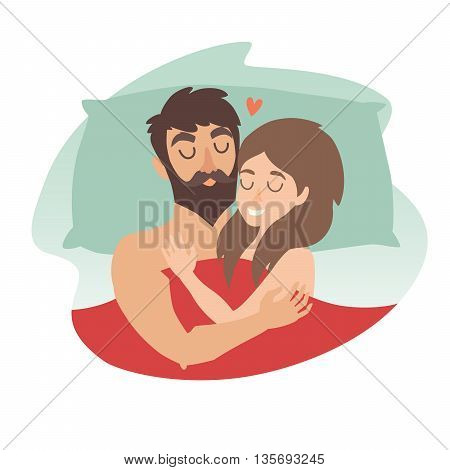 Man and woman couple at bed. Sleeping time vector illustration. People in love. Cartoon character romantic couple. Girl boy icon. Honeymoon married people. Flat isolated sticker