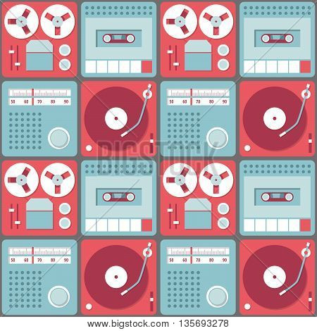 Seamless background with retro audio devices - tape recorder gramophone radio and cassette recorder