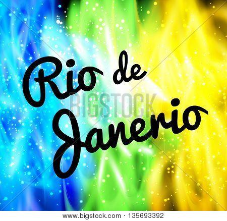 Rio de Janeiro background neon colors easy all editable