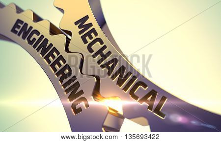 Mechanical Engineering - Illustration with Lens Flare. Mechanical Engineering Golden Metallic Cog Gears. Mechanical Engineering on the Mechanism of Golden Cog Gears with Lens Flare. 3D Render.