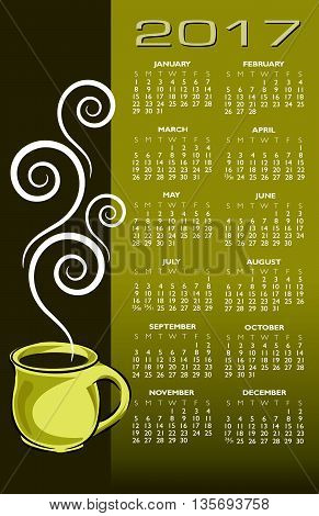 2017 coffee calendar, ideal for print or web use