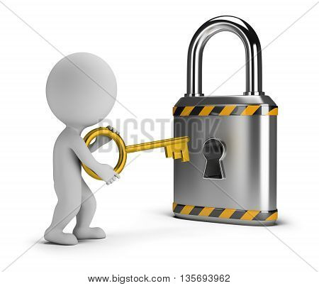3d small person with a key lock. 3d image. White background.