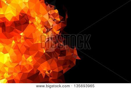 Bright orange fire abstract horizontal background easy editable