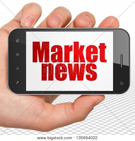 News concept: Hand Holding Smartphone with red text Market News on display, 3D rendering