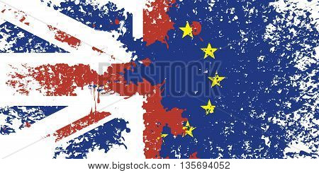 brexit. Flag of Britain and the European Union from stains and splashes at the time of discharge