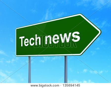 News concept: Tech News on green road highway sign, clear blue sky background, 3D rendering