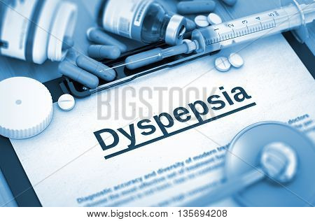 Dyspepsia, Medical Concept with Selective Focus. Dyspepsia - Printed Diagnosis with Blurred Text. 3D.