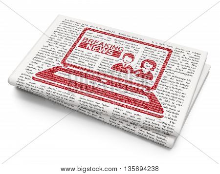 News concept: Pixelated red Breaking News On Laptop icon on Newspaper background, 3D rendering