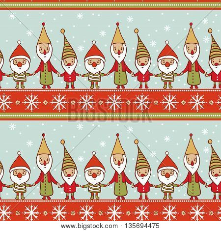 Seamless Christmas Pattern With Gnomes.