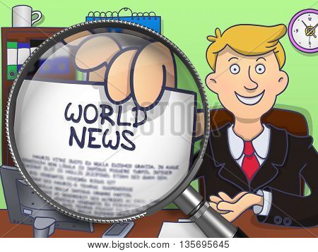 World News. Happy Business Man in Office Workplace Holding a Paper with Concept through Magnifier. Multicolor Doodle Illustration.