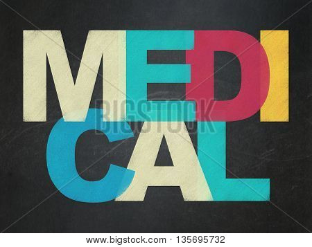Health concept: Painted multicolor text Medical on School board background, School Board