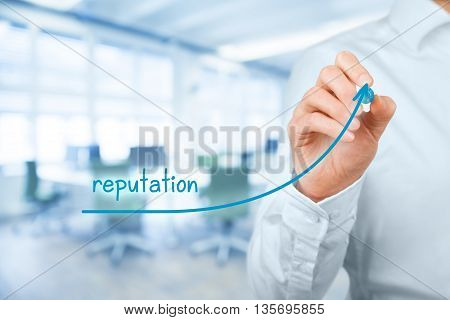 Corporate reputation improvement concept. Businessman (o PR specialist) plan to improve company reputation office in background.