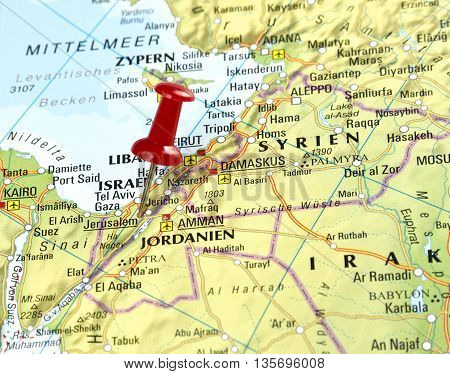 Map with pin set on Jerusalem, Israel.