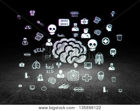 Healthcare concept: Glowing Brain icon in grunge dark room with Dirty Floor, black background with  Hand Drawn Medicine Icons