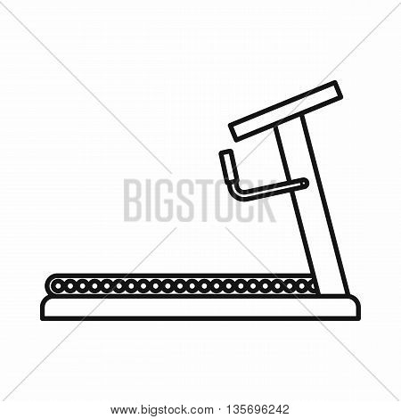 Treadmill icon in outline style isolated on white background
