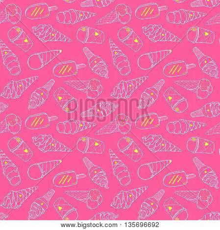 Seamless pink ice cream pattern, hand-drawn summer background, ice-cream vector, EPS 8