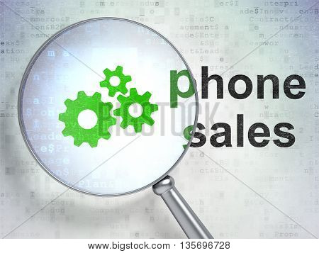 Marketing concept: magnifying optical glass with Gears icon and Phone Sales word on digital background, 3D rendering