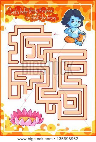 Maze game for kids with Krishna and lotus. Let's help little Krishna to find his way to the lotus. Vector template activity page.