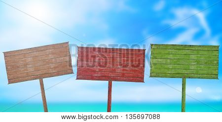 colorful wooden signboard with blurred of beach with blue sky background on sunny day.