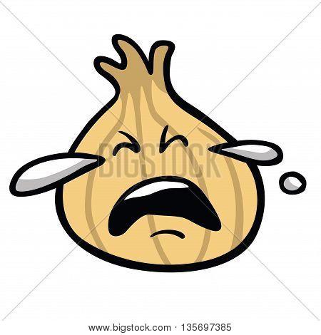Crying Onion Cartoon Vector Cartoon Vector Illustration