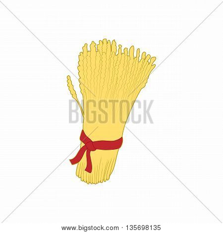 Sheaf of wheat icon in cartoon style on a white background