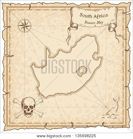 South Africa Old Pirate Map. Sepia Engraved Template Of Treasure Map. Stylized Pirate Map On Vintage