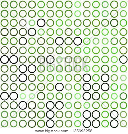 Seamless background made of rings in various sizes and colors ordered in rows. Vector illustration in shades of green on white background.