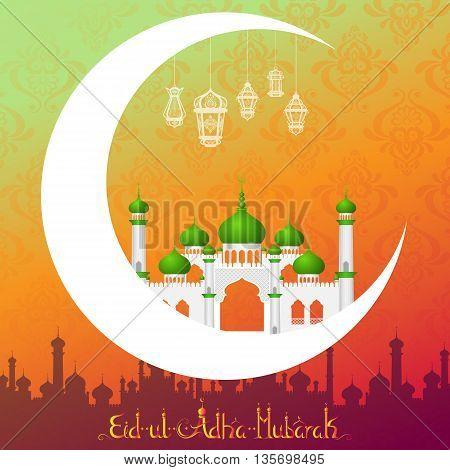 vector illustration of lamp on Eid Mubarak Blessing for Eid