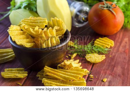fried potato chips on the table and ingredients