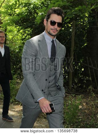 LONDON, UK, JUN 15, 2015: David Gandy attends the Burberry Prorsum fashion show for LFW picture taken from the street
