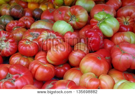 Tomatoes in a group background at the market place