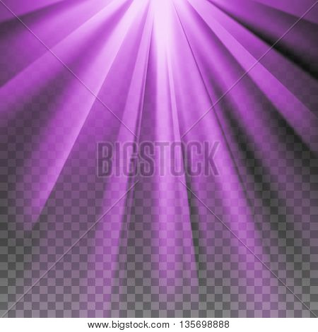 Purple flare rays. Violet vibrant color. Glaring effect with transparency. Abstract glowing light background. Ready to apply. Graphic element for documents, templates, posters, flyers. Vector illustration