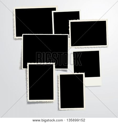 set of seven vector vintage blank photo frames with transparent shadow