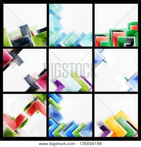 Set of abstract colorful backgrounds. Collection of vector web brochures, internet flyers, wallpaper or cover poster designs. Geometric style, colorful realistic glossy arrow shapes, blank templates