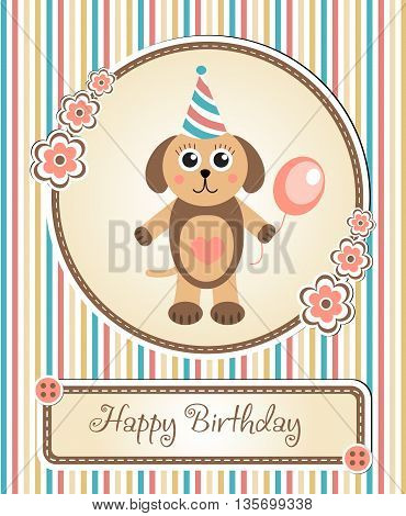 greeting template cute children's birthday party cartoon dog puppy