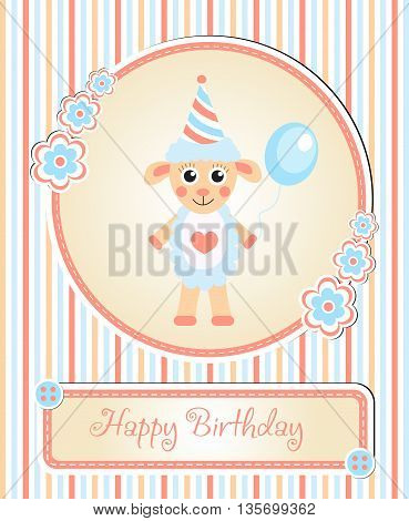 greeting template cute children's birthday party cartoon sheep