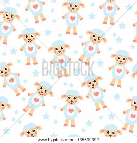 Cute cartoon sheep seamless texture. Children's background fabric. Vector illustration;