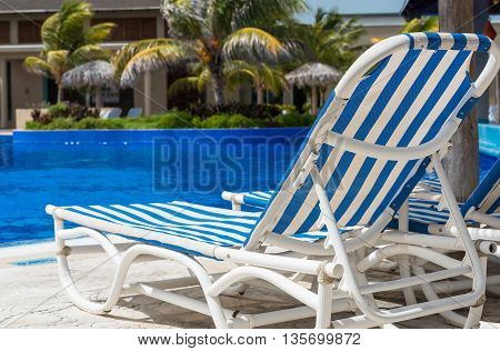 Sun lounger on the swimming pool in Cuba