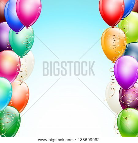 balloons borders over light blue background. vector