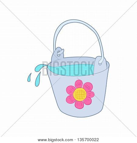Bucket of water for the garden icon in cartoon style on a white background
