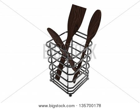 3d illustration of wooden spoons in the metal holder. icon for game web. white background isolated.