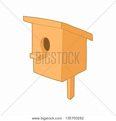 Birdhouse or nesting box icon in cartoon style on a white background