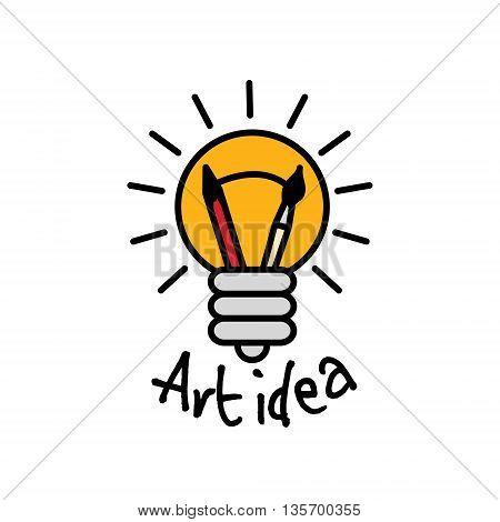 Art idea creative bulb object line logo symbol and sign. Color vector illustration. EPS8