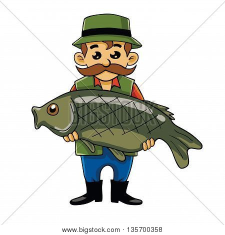 Fisherman Carrying Big Fish Cartoon Vector Mascot