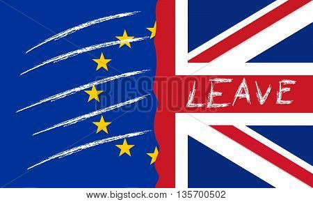 vector illustration of United Kingdom and european flag with word leave isolated background