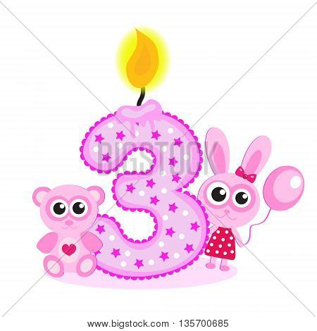 Happy Third Birthday Candle and Animals Isolated on white. The number three. The pink card for girls