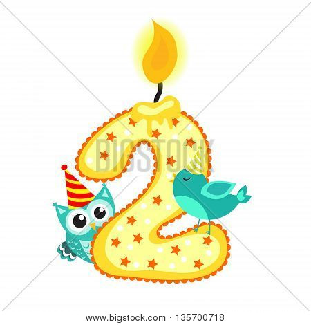 Happy Second Birthday Candle and Animals Isolated on white. The number two. Vector illustration
