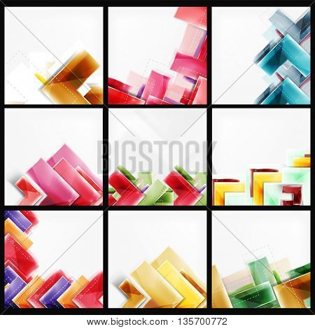Set of arrow background - vector web brochures, internet flyers, wallpaper or cover poster designs. Geometric style, colorful realistic glossy arrow shapes, blank templates with copyspace. Directional